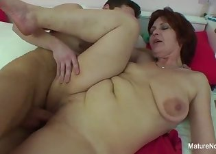 Excited housewife fucks with a young dick