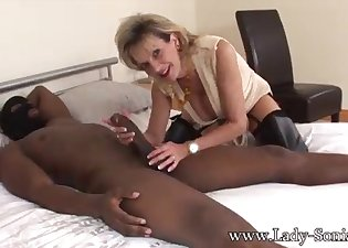 Masked black man sucked by a white lady
