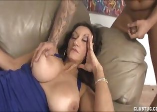 Busty lady in a blue dress needs his semen