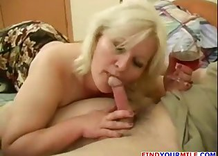 Chubby blonde nicely blows his boner