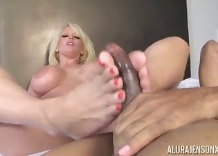 Lusty blonde fucked by a huge black cock