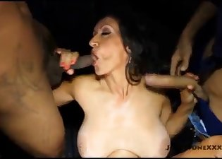 Brutal gangbang with a sex-loving mature