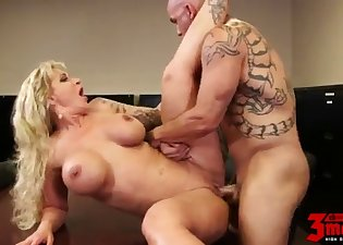 Tattooed mademoiselle cheats in the office