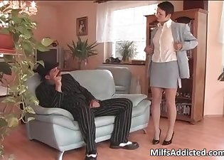 Short-haired secretary pulls out his boner