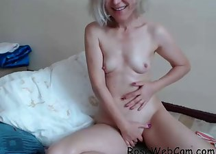 Stunning small-tit blonde gets naked