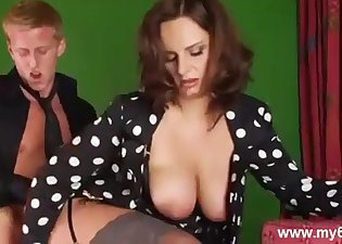 Busty angel sensually sucks a huge cock