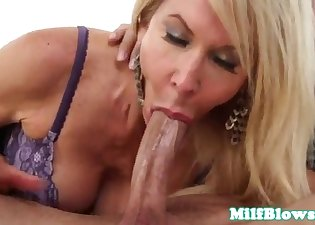 Seduced MILF blows a dick like a pro