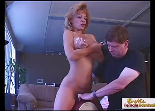 Glamorous busty MILF jumps on a sex toy